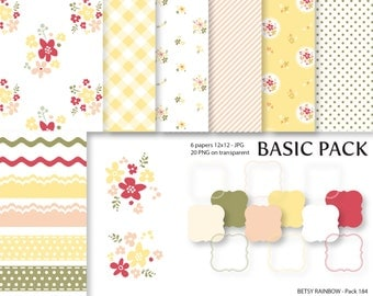 Shabby Chic Digital Paper Pack, Clipart Paper Pack  - BR 184