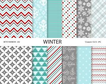 Winter Digital Paper Pack - Winter Digital Papers - Digital Paper Pack Winter colors, 12 digital papers - BR 202
