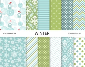 Winter Digital Paper pack, Winter Scrapbook Papers, Christmas Digital papers in blue and green, 12 digital papers - BR 204