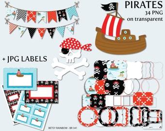 Pirates clipart, digital frames, digital labels, bunting clipart, pirate, clip art - BR 341