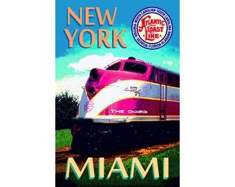 "Atlantic Coast Line Railroad ""The CHAMPION"" -New Original Retro EMC f-3 Miami to NYC Train Poster -in 3 sizes up to 24"" x 36"" -Art Print 035"