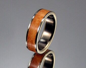 Briar Burl Wood Inlay Titanium Wood Wedding Band or Ring