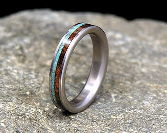 Koa with Sleeping Beauty Turquoise Inlay Titanium Wood Wedding Band or Ring