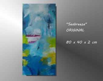 "Original Abstract Acrylic Painting on Canvas TITLE ""Seabreeze"" 16 x 32 ""  Blue Green White Wall Decoration"
