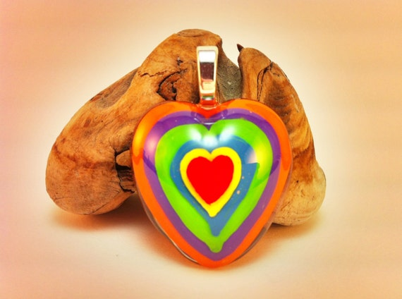 Hand painted Resin Pendant - multi-colored heart