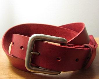 Mens Full Grain Leather Belt (Scarlet Red)