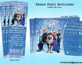 Disney Frozen Party Invitations - Ticket or 5x7 Style - Printable and Customized with your party details. Digital File.