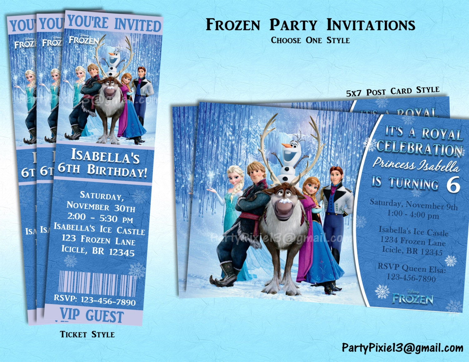 Disney Frozen Party Invitations Ticket or 5x7 Style – Party Invitations Frozen