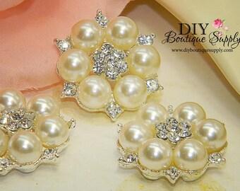Beautiful Rhinestone Pearl buttons Flatback Embellishment flower centers Headbands invitations crystal bouquet  5 pcs 26mm 065042