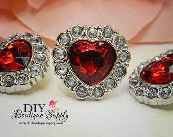 5 pcs RED Hearts Rhinestone Buttons - 25 mm - Valentine's Day Rhinestone Embellishments Scrapbooking Flower centers Headband Supplies 224035