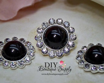 5 pcs 21mm BLACK Pearl Rhinestone Buttons Metal Embellishment Headband Supplies Crystal flower centers 462045