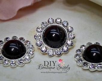 5 pcs 21mm BLACK Pearl Rhinestone Buttons Metal Embellishment Headband Supplies Crystal flower centers 462045