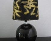 Elegant Black and Gold hand-painted lamp shade