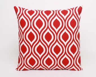 Red Pillow Cover, Red Cushion Cover, 16x16 inch Pillow Cover in Red and White, Pillow Cover, Christmas Throw Pillow Lipstick Nicole
