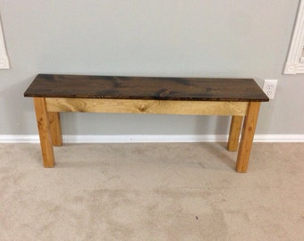 Two Tone Walnut and Beach wood Farmhouse Bench