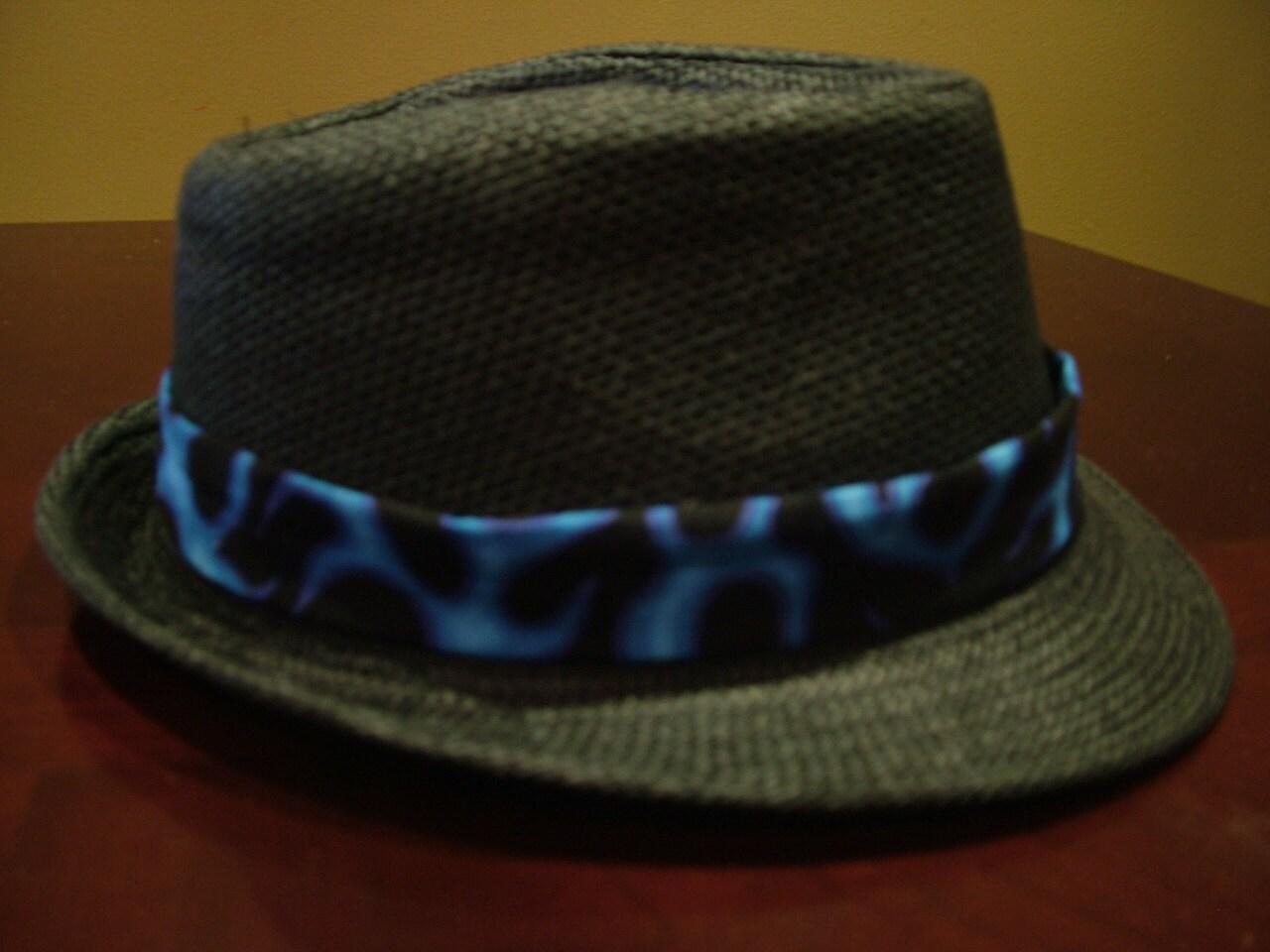 Blue and Black Fedora Hat - Tradesy  |Blue Black Band Fedora