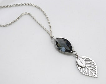 Silver Leaves Pendant with Charcoal Crystal, Wedding Jewelry, Graduation Gift, , Everyday Necklace