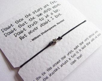 Shakespeare Love Wish Bracelet Friendship Bracelet Wish With Silver Star Charm