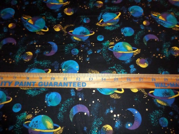 Celestial space themed planets woven fabric 2 7 8 yards for Space themed material