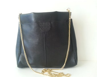 Vintage Genuine Leather Purse with Gold Chain Strap