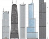 Chicago's Tallest Buildings architectural illustration poster