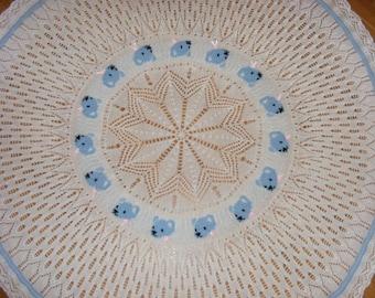 Teddy circular baby shawl knitting pattern in DK Instant download PDF