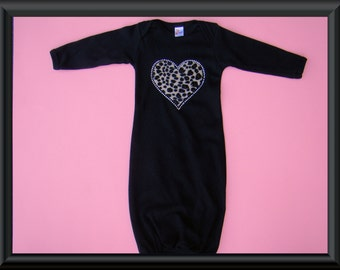 Black baby gown with leopard rhinestone heart