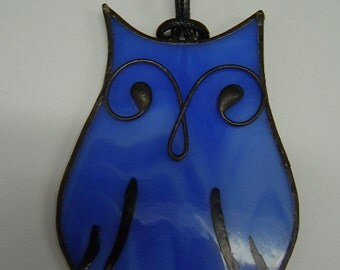 Owl Tiffany Style Stained Glass  Pendant