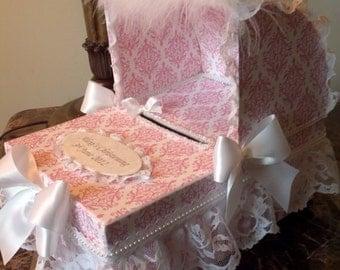 The Eliza Pink And White Damask keepsake Bassinet Card Box For Baby Shower