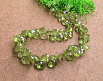 60 pcs 5 to 6 mm Peridot Briolette Micro Faceted Hearts AAA Quality-