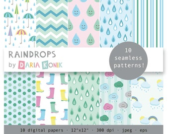 "Raindrops Digital Paper Pack-rain boots, umbrellas, clouds, rain drops, chevron, green, blue, eps, jpeg, 12"" x 12"", instant download"