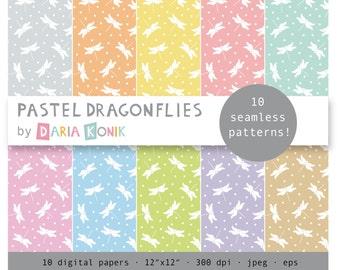 "Pastel Dragonflies Digital Paper Pack-dragonflies, dots, pastel backgrounds, basic papers, jpeg, eps, 12"" x 12"", instant download"