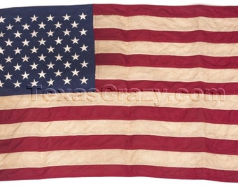 Tea Stained Antiqued 2 x 3 Foot American US Flag