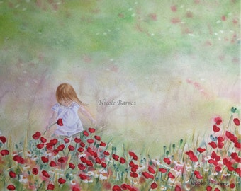 Field of flowers Painting, Floral Art, PRINT, Home Decor Wall art, Watercolour painting. FREE Shipping