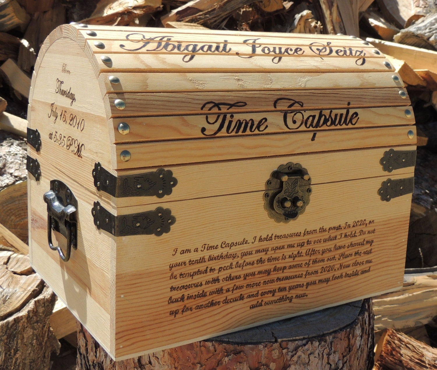 Time Capsule / Keepsake Box Wood Burned Custom Pyrography