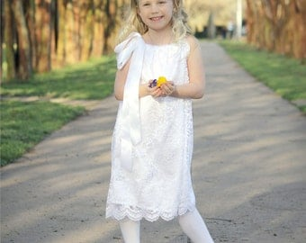 White lace and satin pillow case dress 12m - 5t