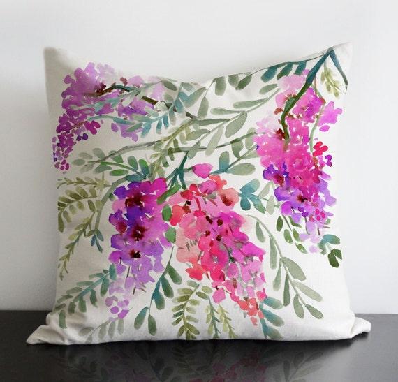 Conception originale Wisteria dans des couleurs d'orchidées radiants - lin / coton taie d'oreiller avec fermeture éclair invisible.