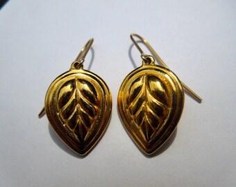 Vintage gold coloured leaf drop earrings