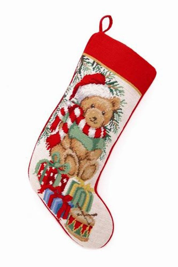 Teddy Bear Personalized Needlepoint Christmas by BABarkerGifts