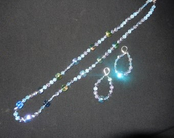 BLUE CRYSTAL BEADED Necklace and Earring Set