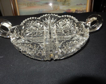 CUT GLASS BOWL Double Handed