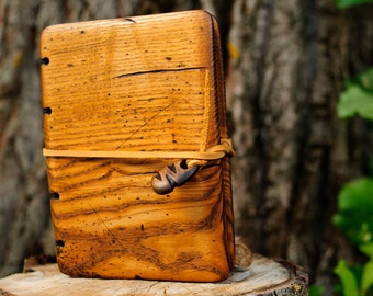 Unique Handmade  journal with distressed ash wood cover / natural finish / made to order