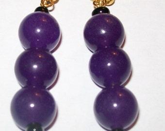 Amethyst gemstone beaded dangle earrings.