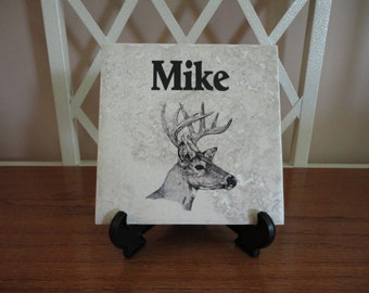 Personalized NAME Tile, Hunting, Deer, Dad, Pet, Dog, Cat, Any Theme