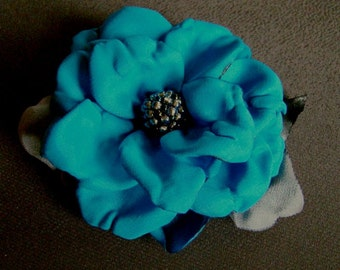 Handmade blue satin flower brooch flower clip & pin