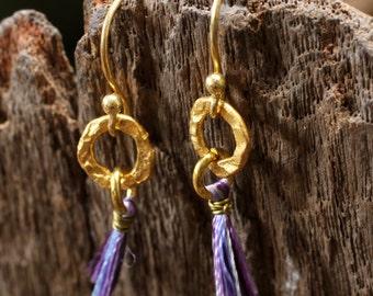 Purple cotton dangle earrings with hand textured brass hoop