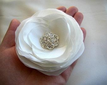 Wedding Hairpiece - White Hair Accessories - Rhinestones Satin Flower - Bridal Hairpiece - Simple Hair Flower Clip - White Bridal Headpiece