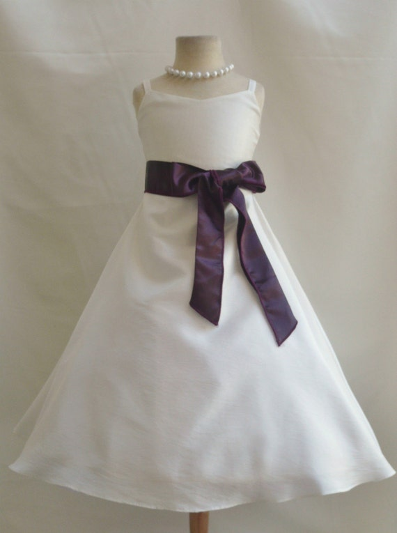 Flower girl dresses ivory with purple plum by nollacollection for Purple and ivory wedding dresses