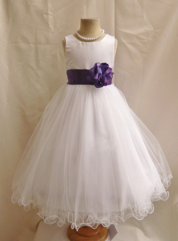 Flower Girl Dresses WHITE With Purple Eggplant By NollaCollection