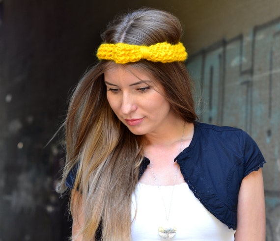 Yellow Bow Headband / Hand knitted